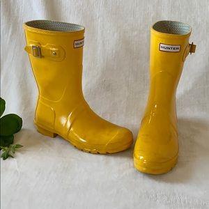 Hunter Original Short Rain Boots Yellow Women's 10